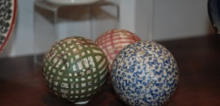 Ceramic carpet bowls from Kirkcaldy Museum ceramics collection