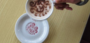 Staff Canteen. Cappuccino stencils featuring personal motifs designed by and for patients & staff around the hospital. Photography: Artists Own